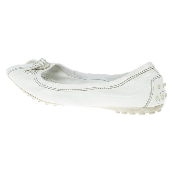 Tod's White Patent Peep Toe Ballet Flats Size 38.5