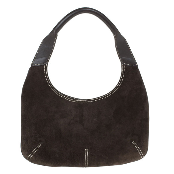 Salvatore Ferragamo Brown Suede Small Hobo
