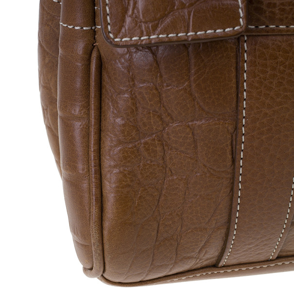 Mulberry Brown Embossed Leather East West Bayswater
