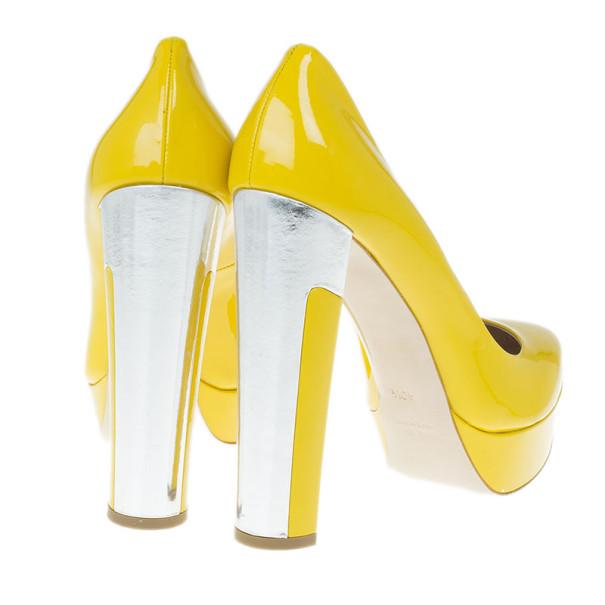 Miu Miu Yellow Patent Leather Platform Pumps Size 40.5