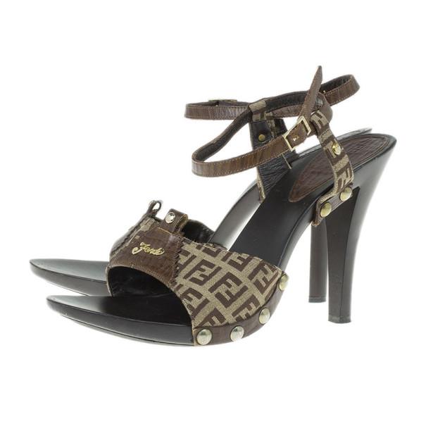 Fendi Zucchino Ankle Strap Sandals Size 40