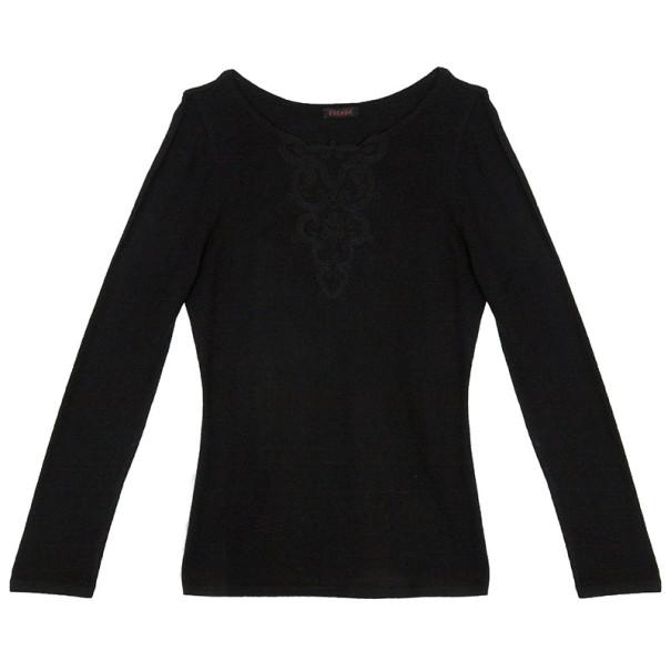 Escada Black Embroidered Long Sleeve T-Shirt M