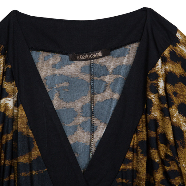 Roberto Cavalli Black Leopard Print Dress S