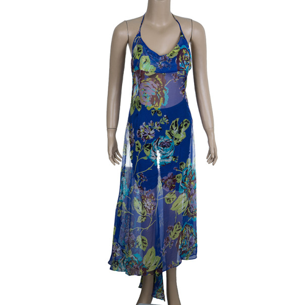Dolce and Gabbana Floral Blue Halterneck Dress M