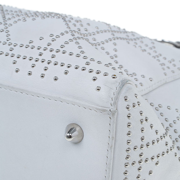 Dior White Studded Leather Medium Lady Dior