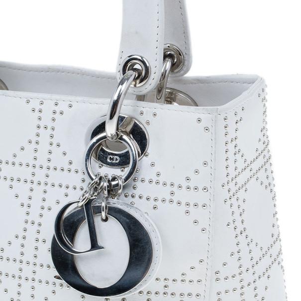 Dior White Studded Leather Medium Lady Dior