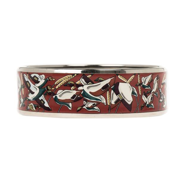 Hermes Wide Printed Enamel Palladium-Plated Duck Design Bracelet 19CM