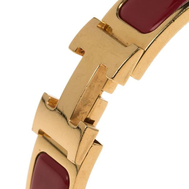 Hermes Clic Clac H Amaranth Red Enamel Gold Plated Bracelet PM