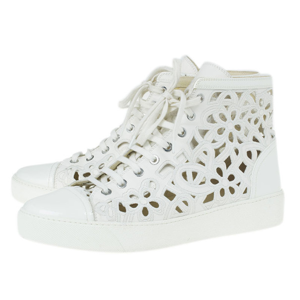 Chanel White Flower Cutout Leather High Top Sneakers Size 41
