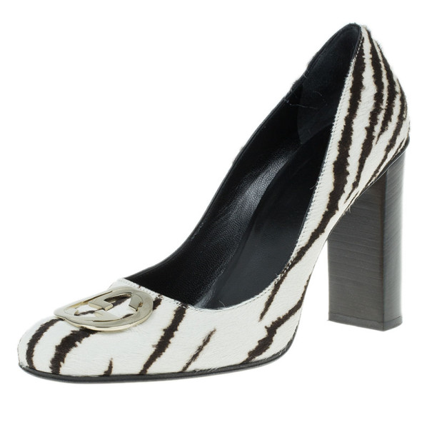 Gucci Zebra Pony Hair GG Pumps Size 38.5