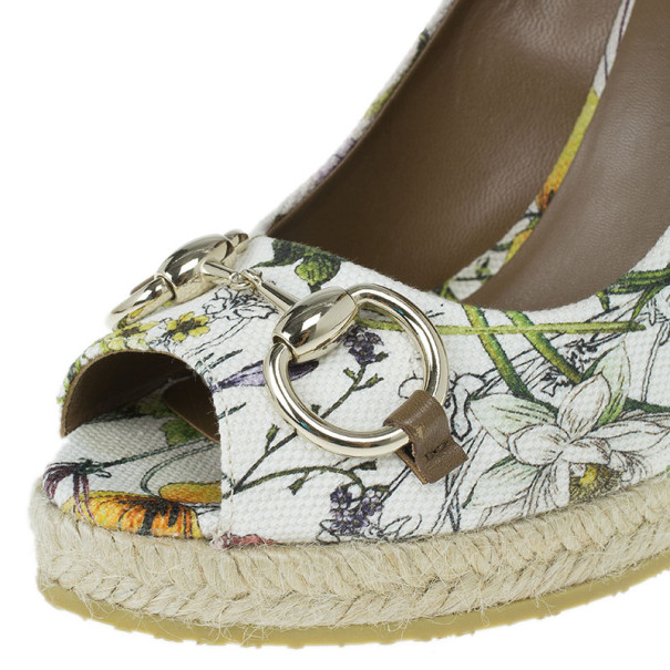 Gucci Infinity Flora Canvas Charlotte Espadrilles Wedges Size 38.5