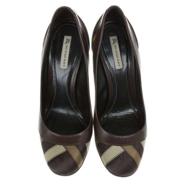 Burberry Brown Printed Silk and Leather Pumps Size 38