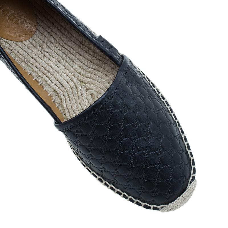 Gucci Black Microguccissima Leather Espadrilles Size 39