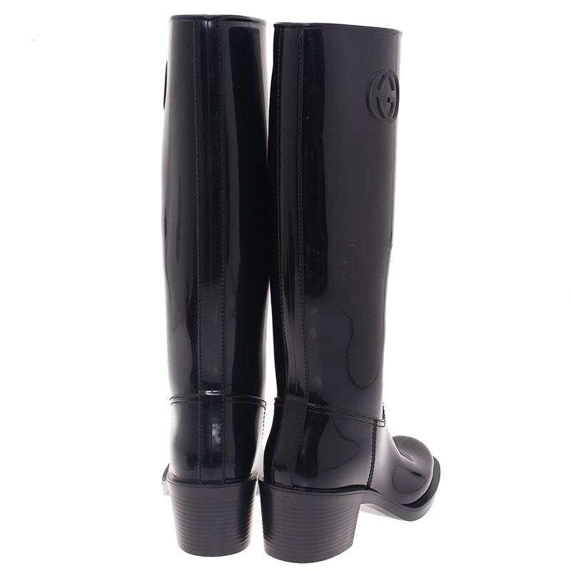 Gucci Black Rubber Interlocking GG Rainboots Size 38
