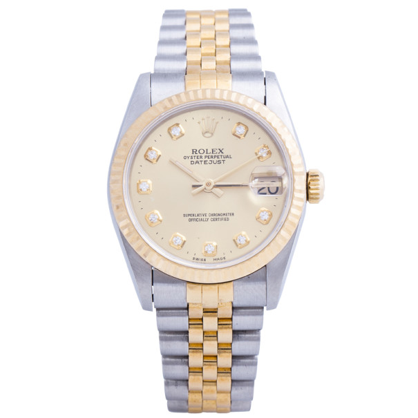 Rolex Gold 18K Yellow Gold and Stainless Steel DateJust Women's Wristwatch 31MM