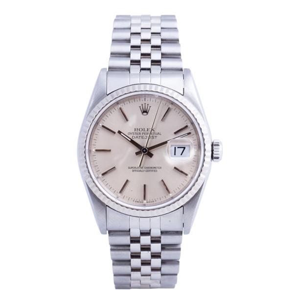Rolex Beige Stainless Steel DateJust Unisex Wristwatch 36MM