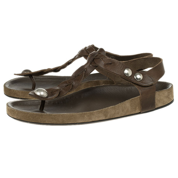 Isabel Marant Brown Braided Leather Brook Sandals Size 38