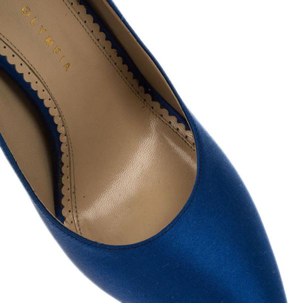 Charlotte Olympia Blue Paloma Fan-pleat Satin Pumps Size 41