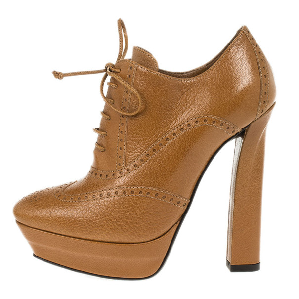Bottega Veneta Brown Leather Brogue Lace Up Ankle Boots Size 36