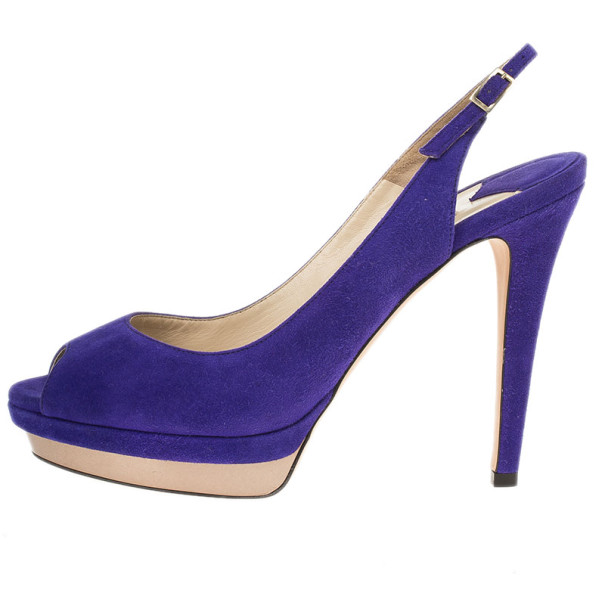 Jimmy Choo Purple Suede Vertigo Slingback Sandals Size 40