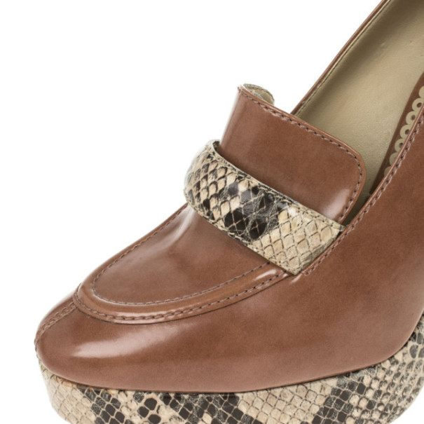 Stella McCartney Brown Faux Leather Python Effect Mary Platform Loafer Pumps Size 39