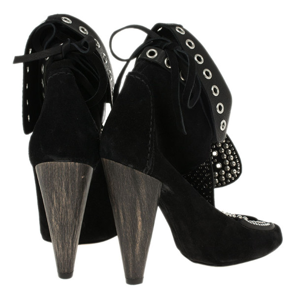 Isabel Marant Black Suede Mossa Studded Cutout Ankle Boots Size 37