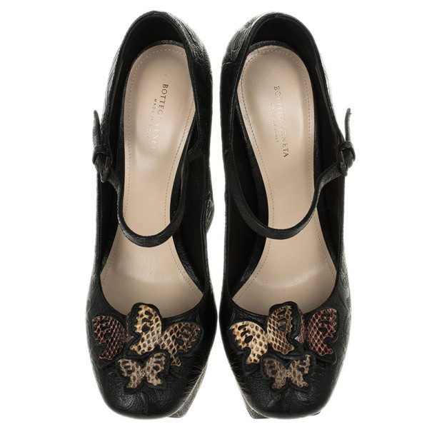 Bottega Veneta Limited Edition Butterfly Embossed Mary Jane Platform Pumps Size 39