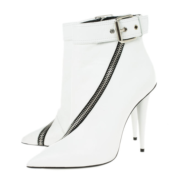 Giuseppe Zanotti White Leather Asymmetrical Zip Ankle Boots Size 38
