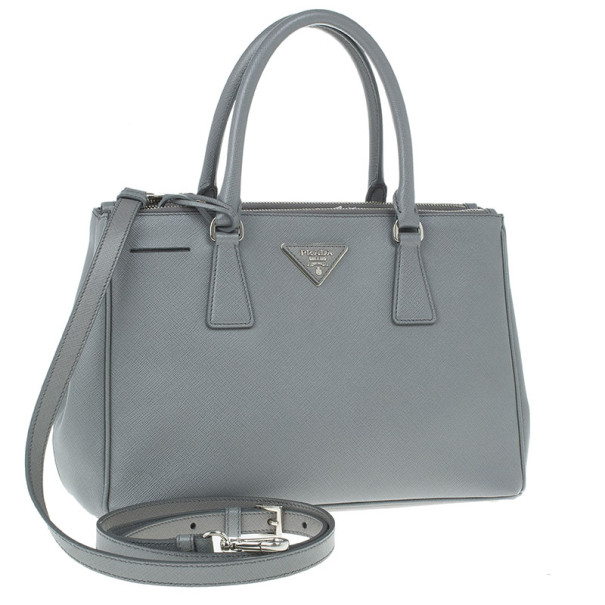 Prada Grey Saffiano Small Double Zip Top Handle Tote