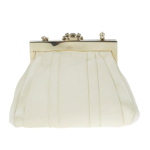 Dior Cream Satin Drapé Evening Clutch