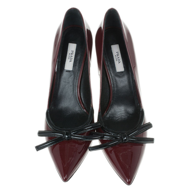Prada Maroon Patent Pointed Toe Bow Pumps Size 38