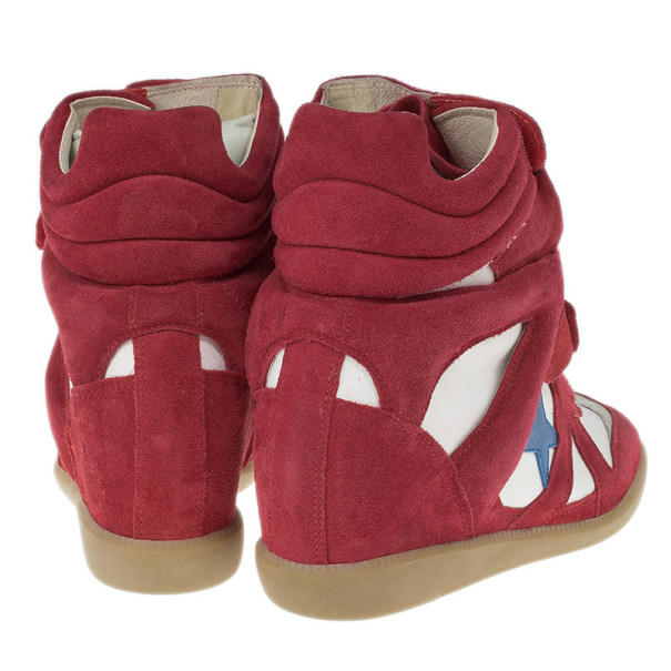 Isabel Marant Red Bayley Star Wedge Sneakers Size 41
