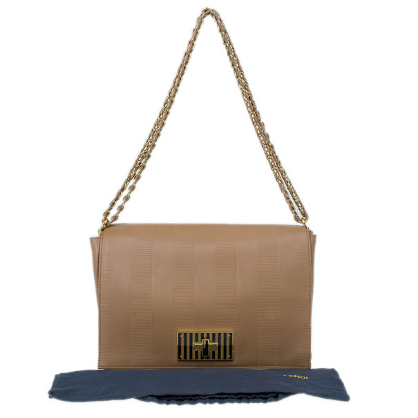 Fendi Beige Leather Pequin Square Flap Bag