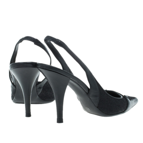 Dior Black Diorissimo Canvas Slingback Sandals Size 36