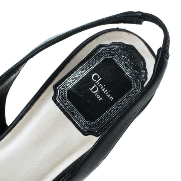 Dior Black Diorissimo Canvas Slingback Sandals Size 36