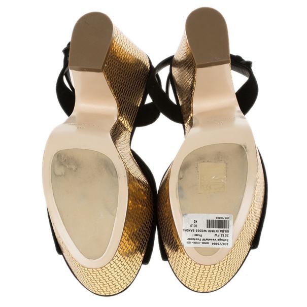 Bottega Veneta Black Suede Ankle Strap Platform Wedges Size 40
