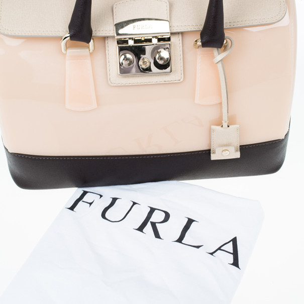 Furla Tri-Color Rubber and Leather Candy Satchel