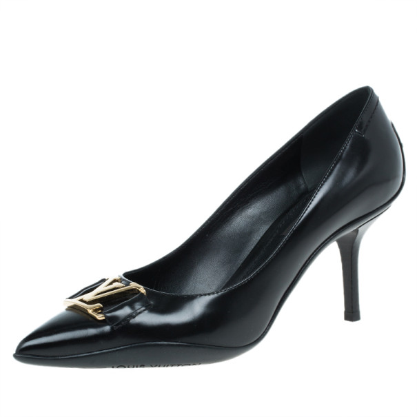 Louis Vuitton Black Leather Logo Pointed Toe Pumps Size 36