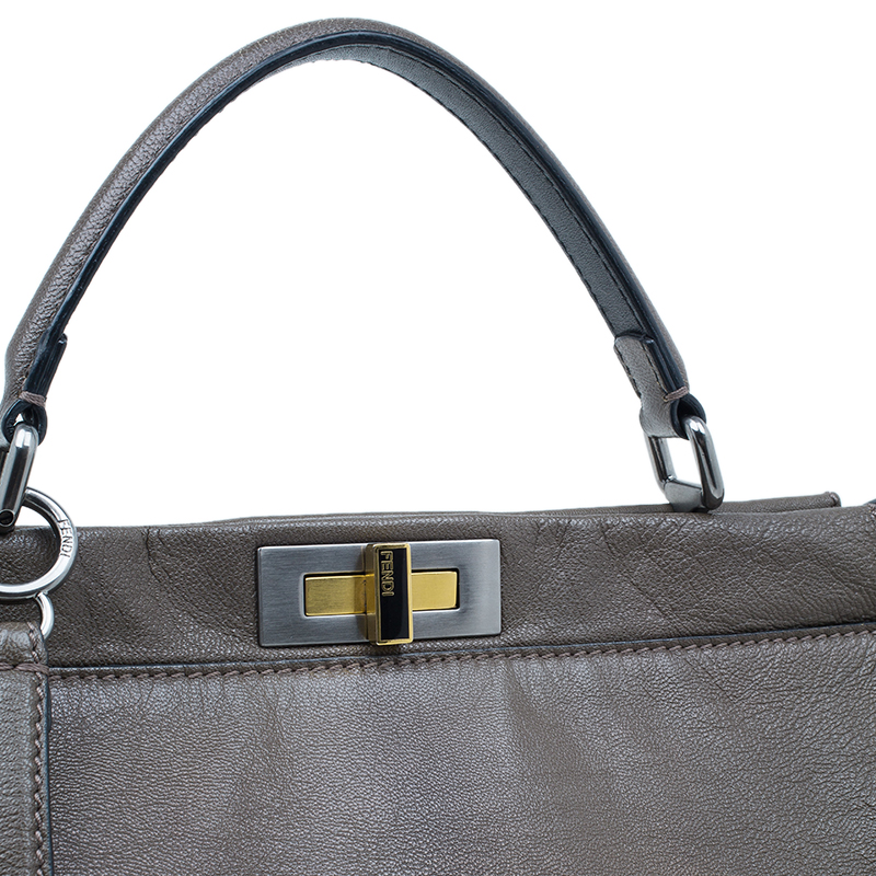 Fendi Brown Leather Large Peekaboo Bag