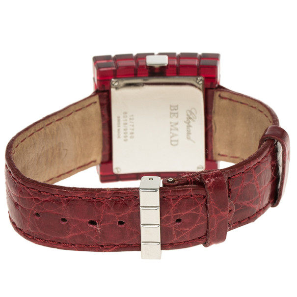 Chopard Red Resin & Steel Be Mad Women's Wristwatch 32MM