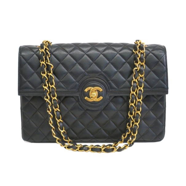 Chanel Black Lambskin Double Chain Single Flap Shoulder Bag