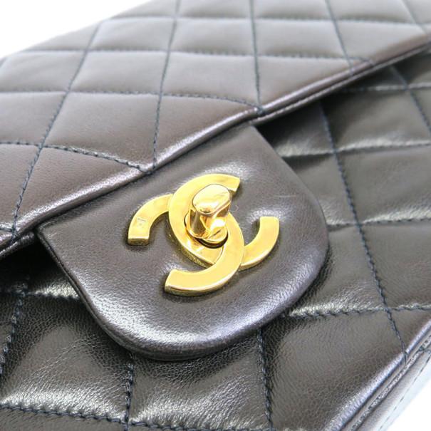 Chanel Black Lambskin Classic Medium Double Chain Flap Shoulder Bag
