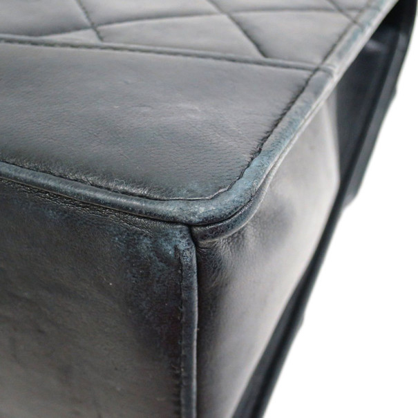 Chanel Black Lambskin Double Chains Single Flap Shoulder Bag