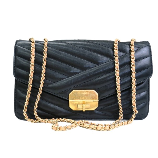 Chanel Black Lambskin Gabrielle Chain Shoulder Bag