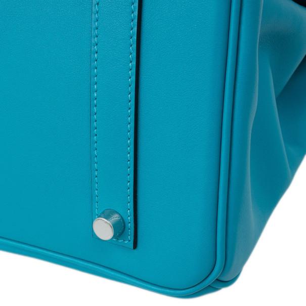 Hermes Aqua Blue Leather Ghillies Collection Birkin 35