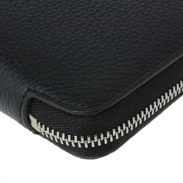 Celine Black Leather Medium Zipped Around Wallet