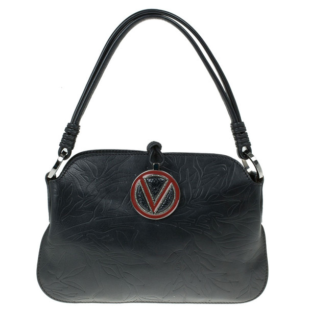 Valentino Black Leather Catch Shoulder Bag