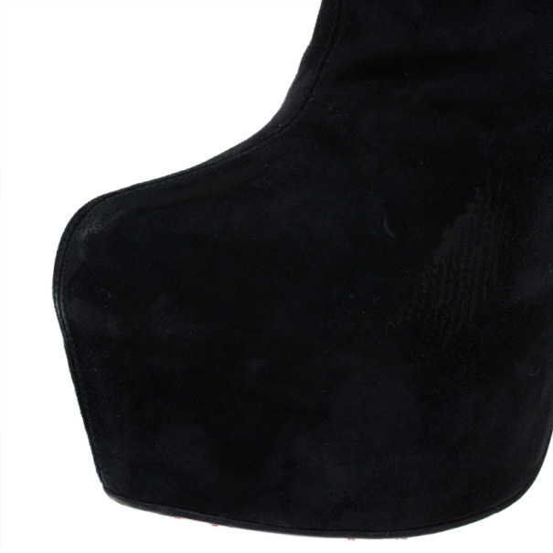 Christian Louboutin Black Suede Lady Daf Booty Platform Ankle Boots Size 37.5