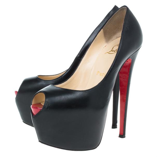 Christian Louboutin Black Leather Highness Peep Toe Platform Pumps Size 37