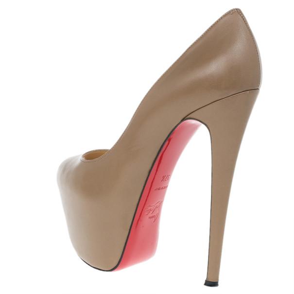 Christian Louboutin Brown Leather Highness Peep Toe Platform Pumps Size 37.5